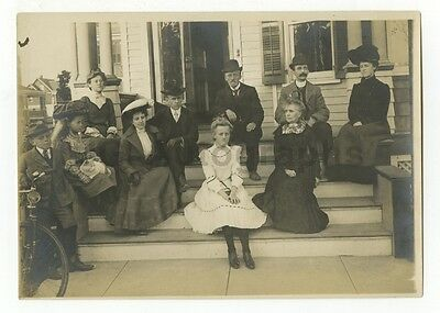 Vintage Silver Print Photograph of a Group or Family on Porch Steps