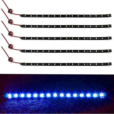 New 5x 15 LED 12V 30cm Car Motor Vehicle Flexible Waterproof Strip Light Blue