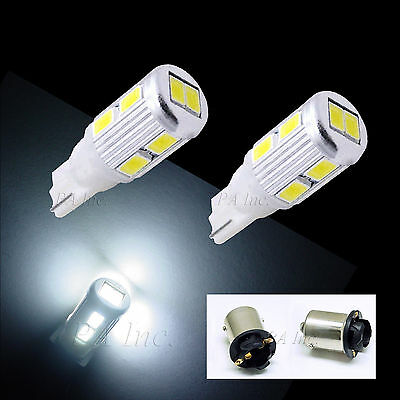 2x 10-5630 White LED Parking Light Bulbs 168 2825 T10 194+ 2 BA15S ADAPTOR