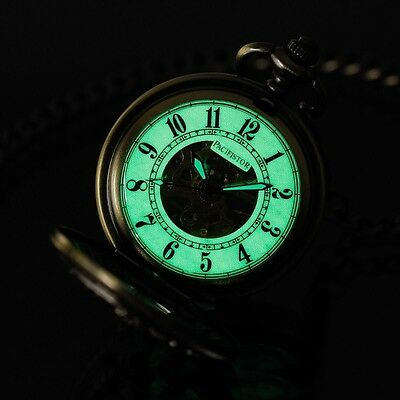 PACIFISTOR Mechanical Pocket Watch Antique Style Luminous Dial Stainless Steel
