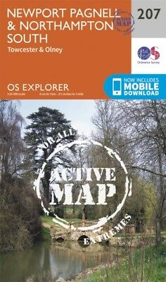 OS Explorer Map Active (207) Newport Pagnell and Northampton Sout...