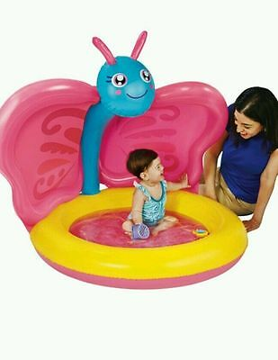 Baby Pool Inflatable Blow Up Butterfly with Sun Shade by Play Day