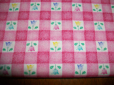 Pink & White Checked Tulips Cotton Quilt Fabric - Spring Fling