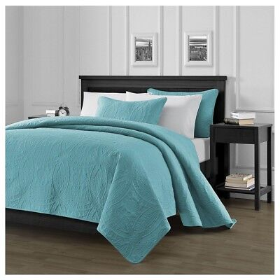 Pinsonic Quilted Austin Oversize Bedspread Coverlet 3-piece King Set, Turquoise
