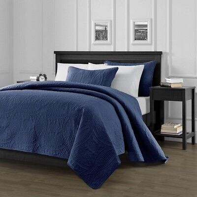Pinsonic Quilted Austin Oversize Bedspread Coverlet 3-piece King Set, Navy Blue