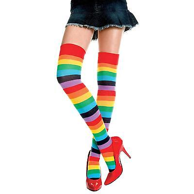 Fashion Women Girl Rainbow Color Stripe Stitching Long Socks Over Knee Stocking