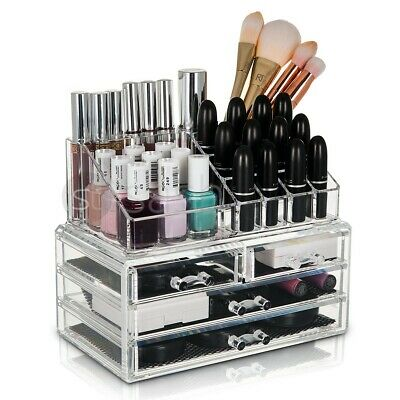 New Glam Clear Acrylic 4 Drawers Cosmetic Makeup Display Storage Table Organiser