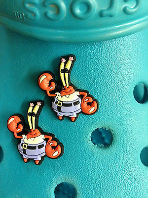 2 Mr Krabs (SpongeBob) Shoe Charms For Crocs & Jibbitz Wristbands.