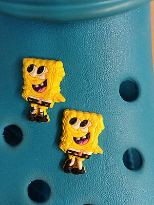 2 SpongeBob SquarePants Shoe Charms For Crocs & Jibbitz Wristbands.