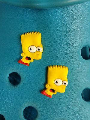 2 Bart Simpson Face Shoe Charms For Crocs & Jibbitz Wristbands.