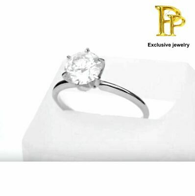 Shiny 2.02 ct   Round Brilliant Cut Real Diamond  14k Solid White Gold