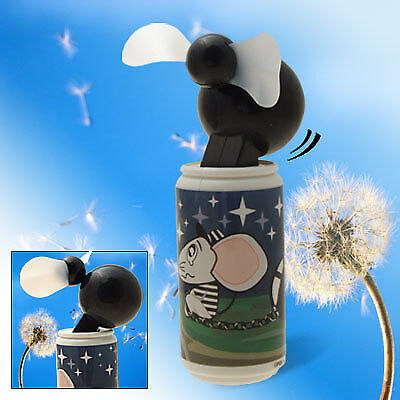 Cartoon Mouse Pattern Battery Cooling Fan Black& Blue