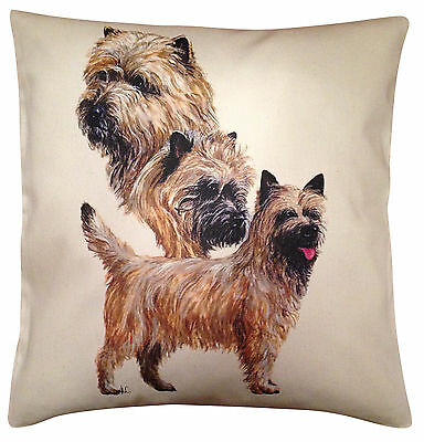 Cairn Terrier Group Cotton Cushion Cover - Cream or White Cover - Gift Item