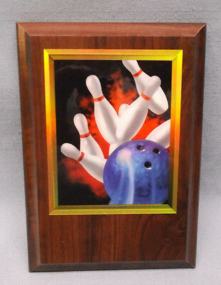 BOWLING plaque trophy award full color 5 x 7