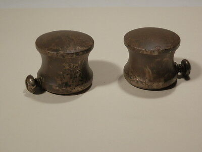 2 New Distressed Brass Metal Button Finial End Caps