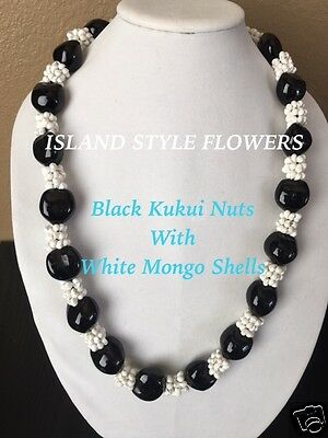Hawaii Wedding BLACK Kukui Nut White Mongo Lei Graduation Luau Hula Necklace