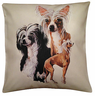 Chinese Crested Group Cotton Cushion Cover - Cream or White Cover - Gift Item