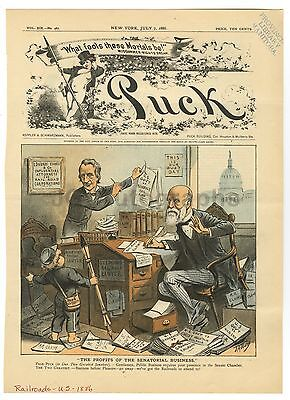 Puck Magazine Cover - Vintage July 7, 1886 Issue - 19th Century Railroads