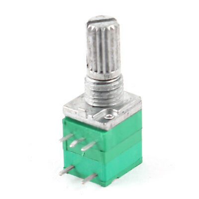 50K ohm 6mm Knurled Shaft Single Linear 5 Terminals Potentiometer Green