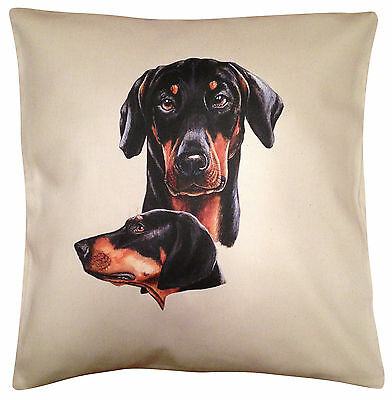 Doberman Group Cotton Cushion Cover - Cream or White Cover - Gift Item