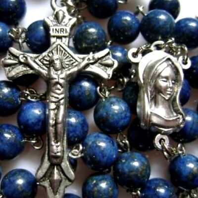 Natural Lapis lazuli bead Rosary & silver Cross medal crucifix catholic necklace