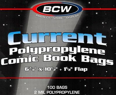100 BCW Current Book Bags and Boards Comic Book
