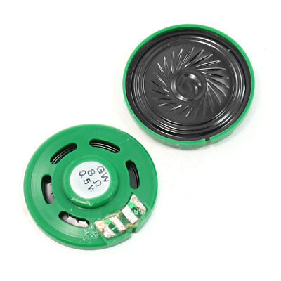 2 Pcs Green Plastic Shell 8 Ohm 0.5W 39mm Round Slim Black Magnet Speakers