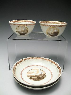Pair of Chinese 18c. Landscape Sepia Tone Tea Cups & Saucers