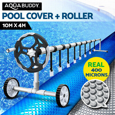 Aquabuddy Solar Swimming Pool Cover Blanket with Roller Wheel Adjustable 10 X 4m