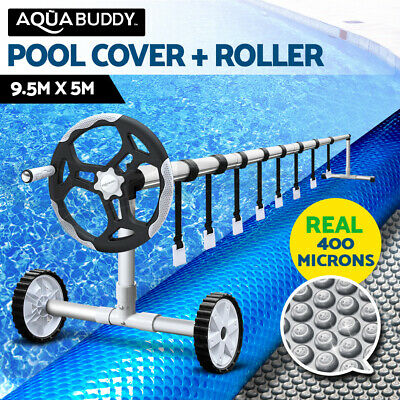 Solar Swimming Pool Cover Blanket Bubble with Roller Wheel Adjustable 9.5 X 5m