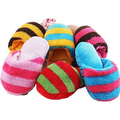 Cute Plush Slipper Shape Dog Puppy Pet Chewing Play Toys Squeaky Squeaker Sound