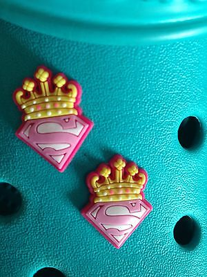 2 SuperGirl Shoe Charms For Crocs & Jibbitz Wristbands. Free UK P&P