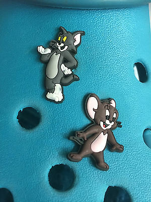 2 Tom And Jerry Shoe Charms For Crocs & Jibbitz Wristbands. Free UK P&P