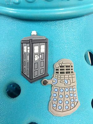 2 Dr Who Tardis & Dalek Shoe Charms For Crocs & Jibbitz Wristbands. Free UK P&P