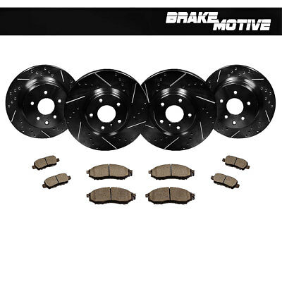 F+R Black Drilled Slotted Brake Rotors & Ceramic Pads Kit For Infiniti Nissan