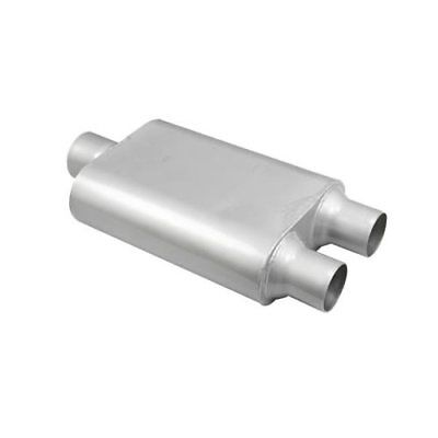 """Summit Muffler Chambered 3"""" Inlet 2.5"""" Outlets Center Inlet Dual Outlets Steel"""