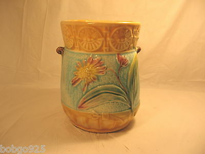 Majolica Vase Antique English Pottery Flower Design Vase / Holder 4.5 in Vintage