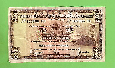 1969  Hong Kong & Shanghai Banking Corporation Five Dollar Banknote,