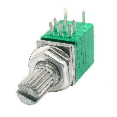 Type B 10K ohm 8 Terminals Dual Linear Variable Potentiometer Green