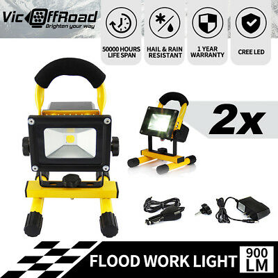 2X Yellow 10W Portable Led Work Light Rechargeable Camping Flood Lamp