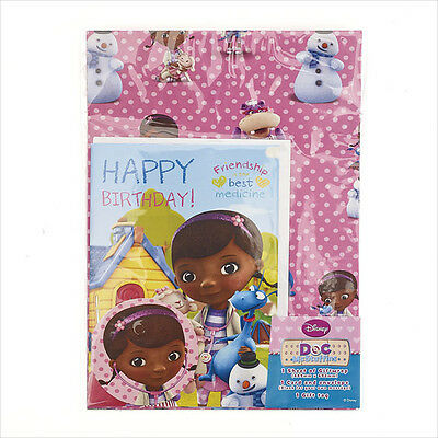 Doc McStuffin Birthday Card & Wrapping Paper Set Pack Includes Card, Wrap & Tag