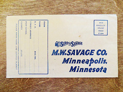 Early 1900s M.W. Savage Company Minneapolis MN Store Mail Order Envelope Unused
