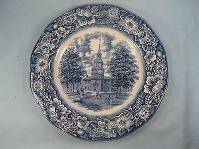 Liberty Blue Dinner Plate Independence Hall Staffordshire Made In England (O3)
