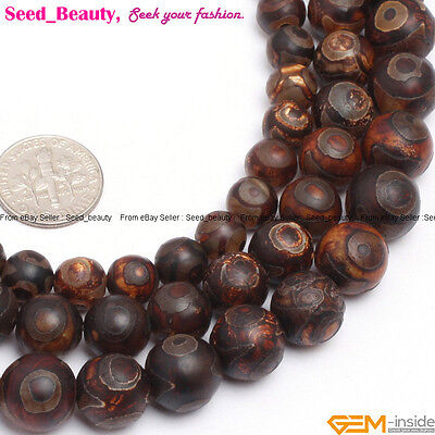 Natural Gemstone Tibetan Dzi Agate Evil Eye  Beads Stone for Jewelry Making 15""