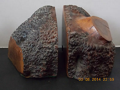 Vintage Pair Of Pacific Redwood Burl Bookends