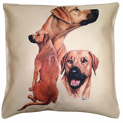 Rhodesian Ridgeback Group Cotton Cushion Cover - Cream or White - Gift Item
