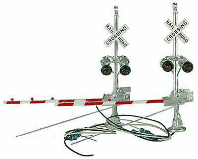 HO Scale LH Grade Crossing Signals w/Red Gates Brass NJ International 1164