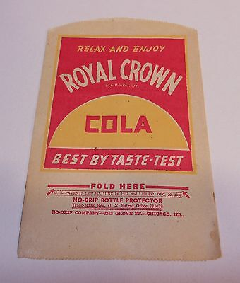 """Vintage Royal Crown 1930's No Drip Bottle Protector..""""Relax and Enjoy"""""""