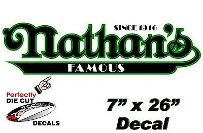 Nathan's Famous Hot Dog 7''x26'' Decal for Hot Dog Cart or Concession Stand