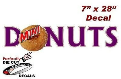 Mini Donuts Wording 7''x28'' Decal for Concession Trailer or Mini Donut Stand